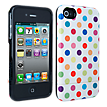 iPhone 4/4s Broodi Slider Cover - White w/Multi-Colored Polka Dots