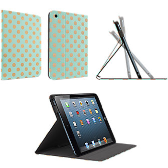 Belkin Book Cover for iPad Mini - Metallic Gold Dot, Mint