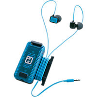 iHome Fitness Earbuds with Clip-On LED Safety Flasher and Cord Wrap - Black and Blue
