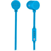 iHome Rubberized Noise Isolating Earphones with Inline Mic - Blue