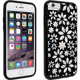 Milk and Honey Black and White Flower Mother of Pearl Cover for iPhone 6/6s