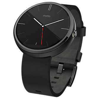 Moto 360 - Leather Band - Black