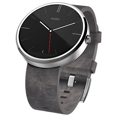 Moto 360 - Leather Band - Gray