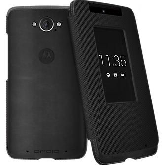 Motorola Flip Case for DROID Turbo - Black Leather and Ballistic Nylon