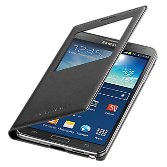 Wireless Charging S-View Flip Cover for Samsung Galaxy Note 3 - Black