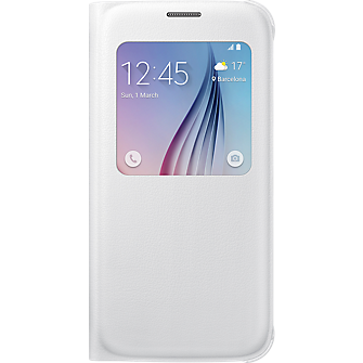 S-View Flip Cover for Samsung Galaxy S 6 - White Pearl