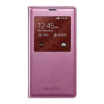 Samsung S-View Flip Cover for Galaxy S 5 - Metallic Pink