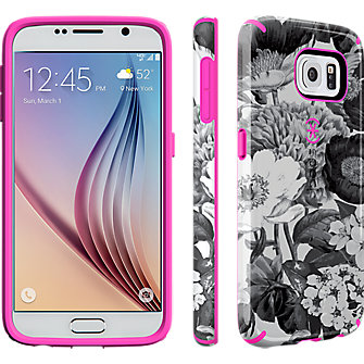 Speck CandyShell INKED for Samsung Galaxy S 6 - Vintage Bouquet Grey/Shocking Pink