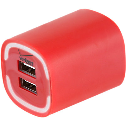 3.4A Travel Charger with Dual Output - Red