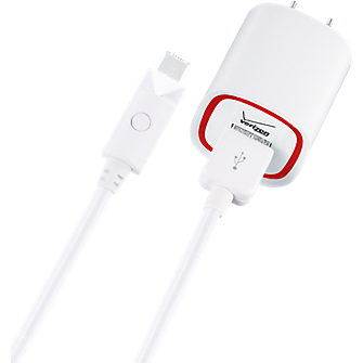 Wall Charger with 6 ft. Cable and LED Light for Micro USB - White