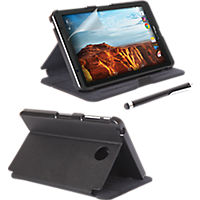 Folio Case, Screen protector and Stylus Pen Bundle for Ellipsis 8 - Black