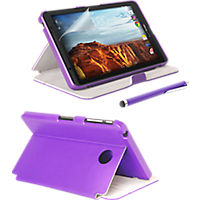 Folio Case, Screen protector and Stylus Pen Bundle for Ellipsis 8 - Purple