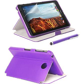 Folio Case, Screen protector and Stylus Pen Bundle for Ellipsis 8 - Purple